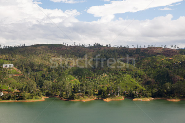 Stock photo: view to lake or river from land hills on Sri Lanka