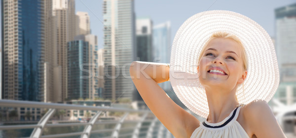 happy woman enjoying summer over dubai city Stock photo © dolgachov