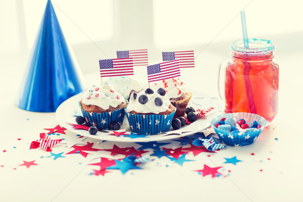 cupcakes with american flags on independence day Stock photo © dolgachov