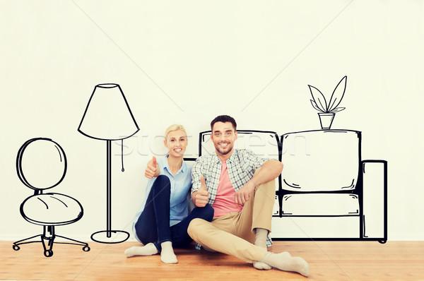 Gelukkig paar tonen nieuw huis mensen Stockfoto © dolgachov
