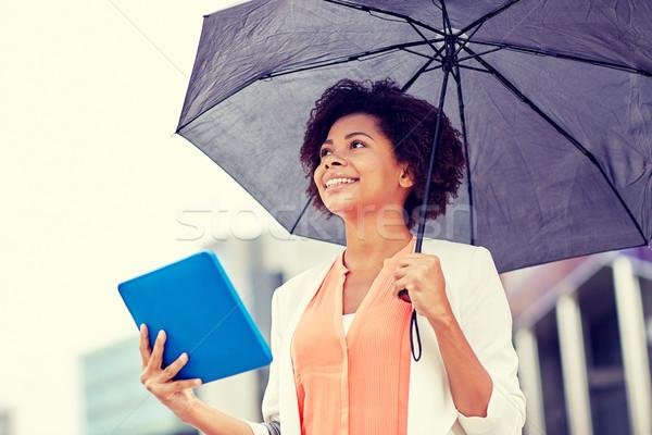 Zakenvrouw paraplu stad business slechte weer Stockfoto © dolgachov