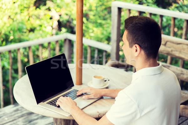 Foto stock: Empresário · laptop · terraço · pessoas · de · negócios · tecnologia