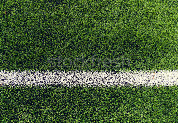 close up of football field with line and grass Stock photo © dolgachov