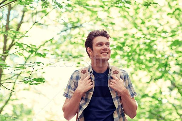 笑みを浮かべて 若い男 リュックサック ハイキング 森 冒険 ストックフォト © dolgachov
