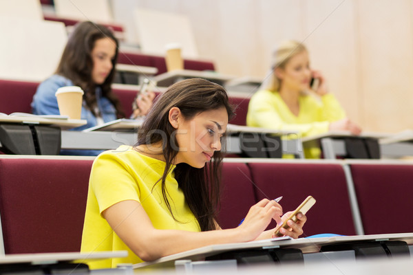 student girls with smartphones on lecture Stock photo © dolgachov