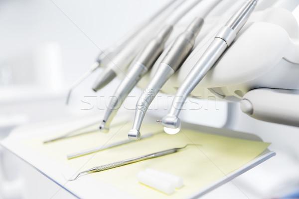 close up of dental instruments Stock photo © dolgachov