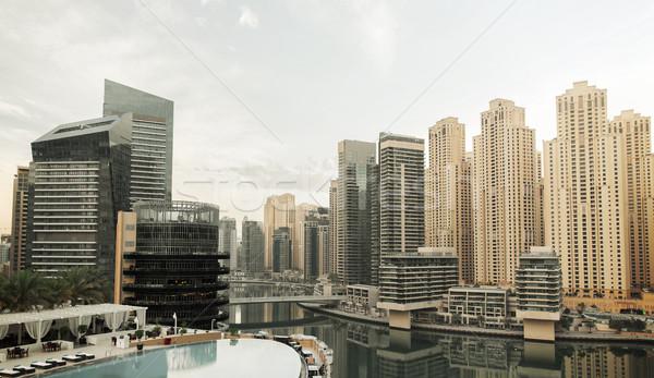 Stock photo: Dubai city seafront with hotel infinity edge pool