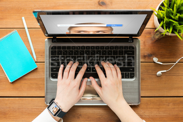 close up of woman with internet search on laptop Stock photo © dolgachov