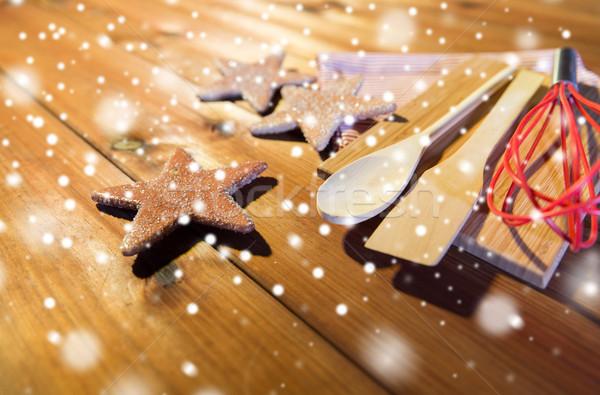 close up of gingerbread and baking kitchenware set Stock photo © dolgachov