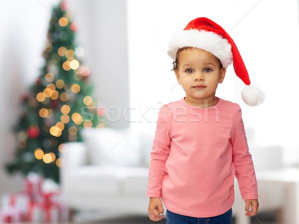 Foto stock: Belo · pequeno · menina · natal · seis