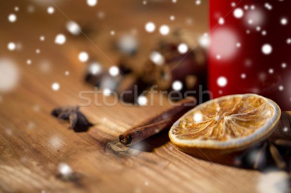Cannella anice essiccati arancione Natale Foto d'archivio © dolgachov