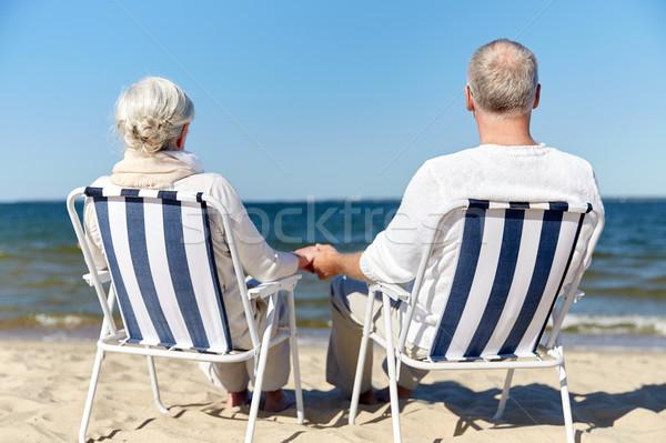 Stockfoto: Vergadering · stoelen · zomer · strand · familie