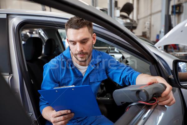 mechanic man with diagnostic scanner at car shop Stock photo © dolgachov