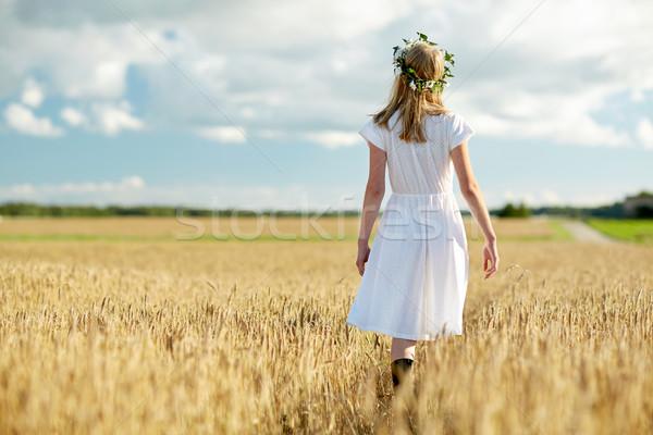 счастливым цветок венок зерновых области Сток-фото © dolgachov