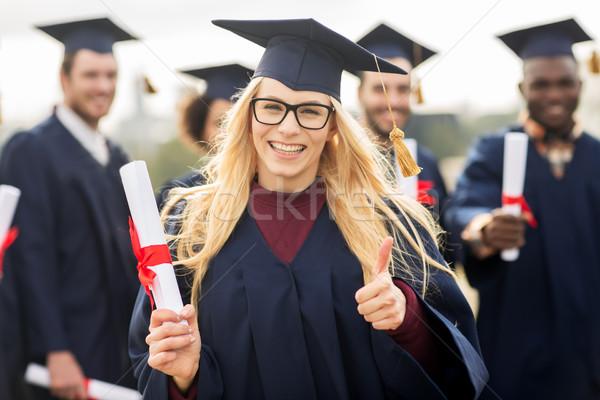 Mutlu Öğrenciler eğitim mezuniyet Stok fotoğraf © dolgachov