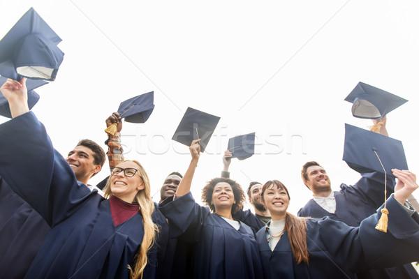 Feliz estudiantes solteros educación graduación Foto stock © dolgachov