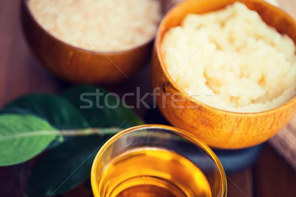 close up of body scrub in wooden bowl Stock photo © dolgachov