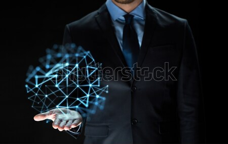 close up of businessman with network projection Stock photo © dolgachov