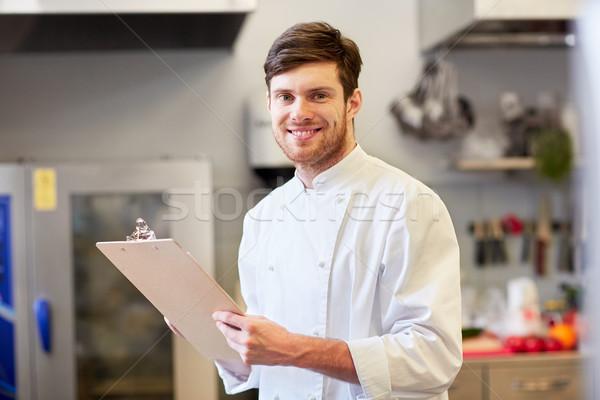 Chef presse-papiers inventaire restaurant cuisson profession Photo stock © dolgachov