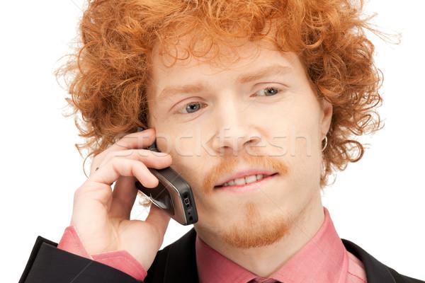 Stock fotó: Jóképű · férfi · mobiltelefon · kép · üzlet · férfi · technológia