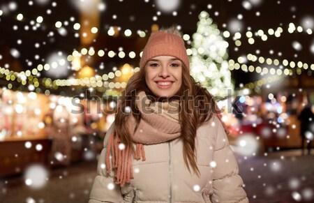 beautiful sexy woman in santa hat at christmas Stock photo © dolgachov