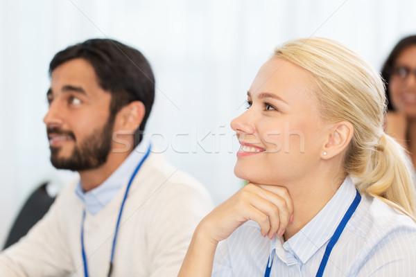 Gelukkig zakenlieden internationale conferentie business onderwijs Stockfoto © dolgachov