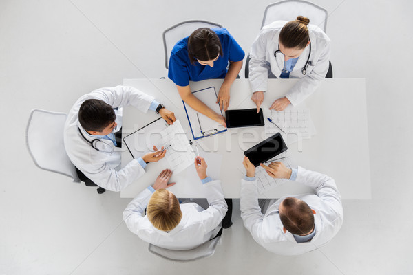 doctors with cardiograms and tablet pc at hospital Stock photo © dolgachov