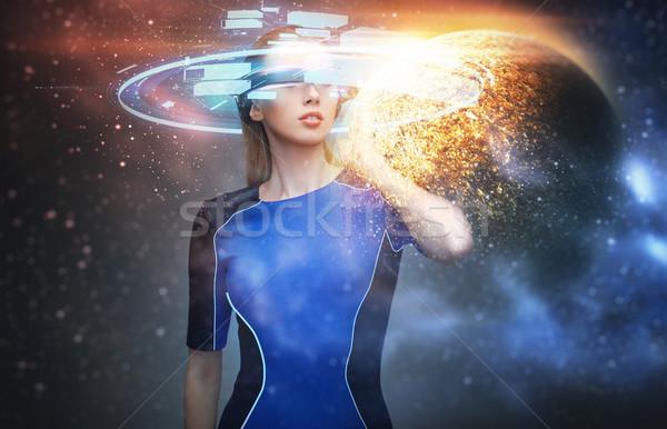 Nő virtuális valóság szemüveg űr jövő Stock fotó © dolgachov