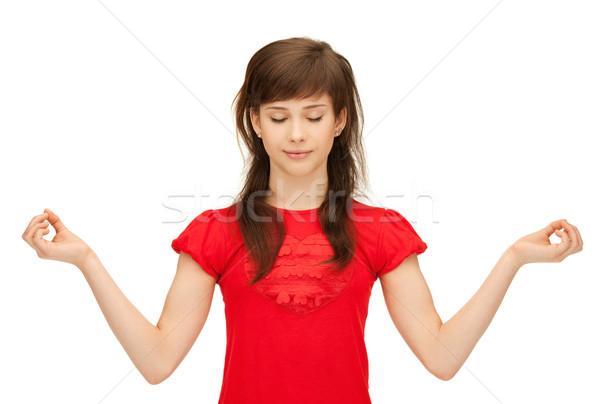 Tinilány meditáció fényes kép lány kezek Stock fotó © dolgachov