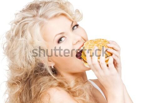 Femme Burger jeunes belle femme blanche sexy Photo stock © dolgachov