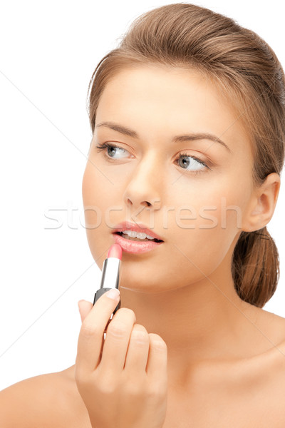 beautiful woman with lipstick Stock photo © dolgachov