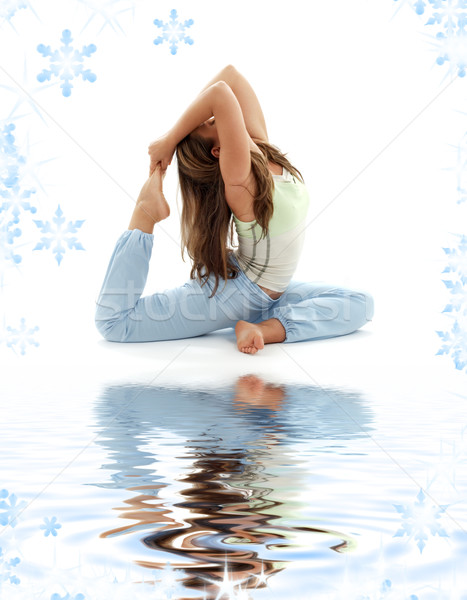 ashtanga yoga on white sand Stock photo © dolgachov