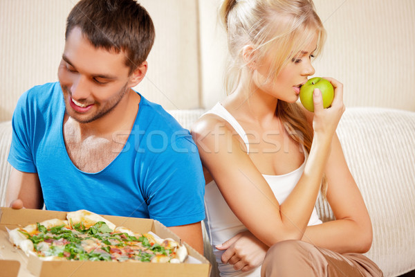 Foto stock: Casal · alimentação · diferente · comida · brilhante · quadro