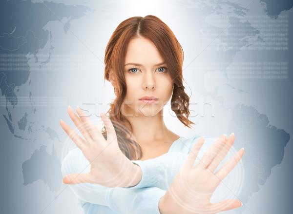 üzletasszony dolgozik érintőképernyő kép üzlet nő Stock fotó © dolgachov