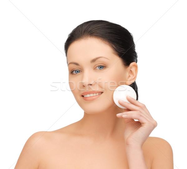Güzel bir kadın pamuk parlak resim kadın gülümseme Stok fotoğraf © dolgachov