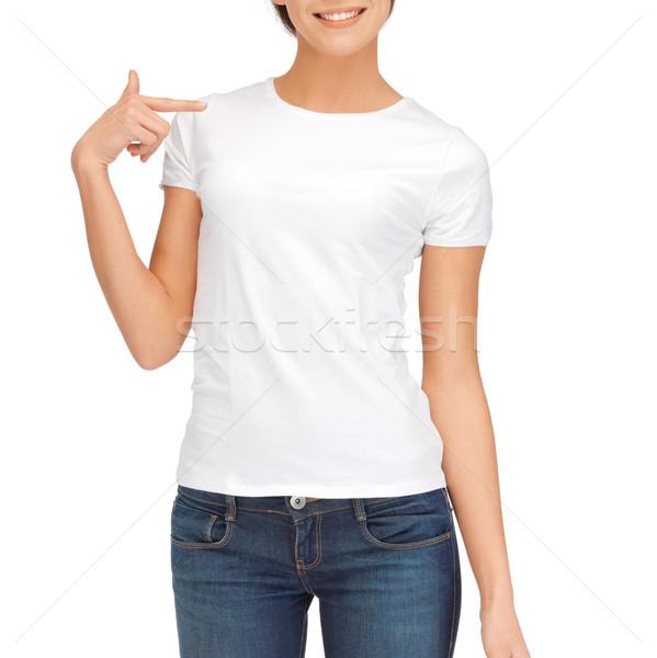 женщину белый футболки дизайна модель подростков Сток-фото © dolgachov