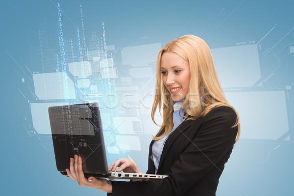 улыбающаяся женщина портативного компьютера бизнеса технологий интернет компьютер Сток-фото © dolgachov