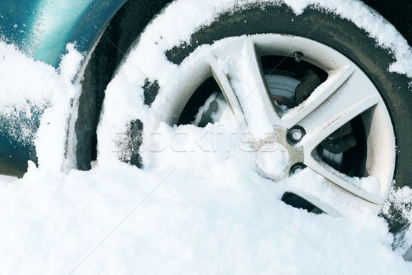 closeup of car wheel stuck in snow Stock photo © dolgachov