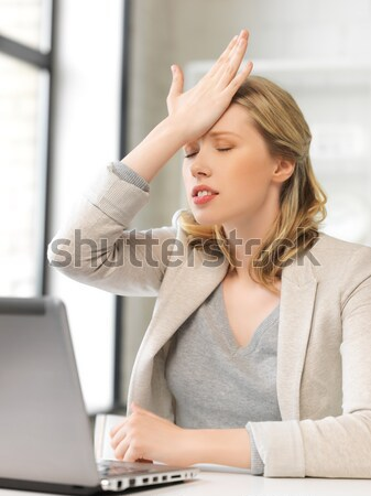 angry woman with laptop Stock photo © dolgachov