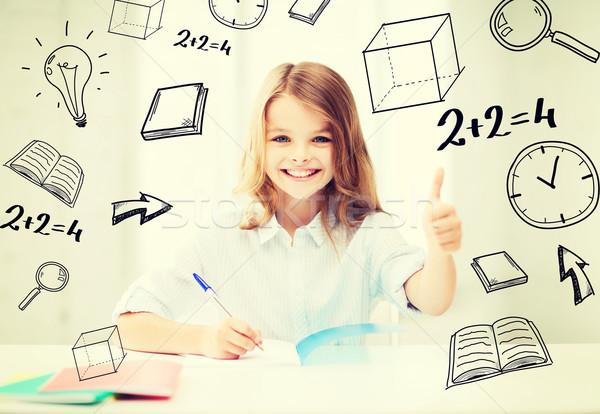 ストックフォト: 学生 · 少女 · 勉強 · 学校 · 教育 · 笑みを浮かべて