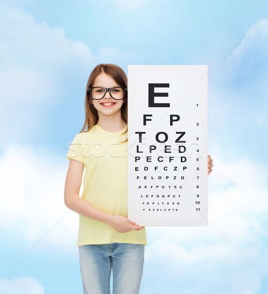 Petite fille lunettes oeil graphique vision santé Photo stock © dolgachov