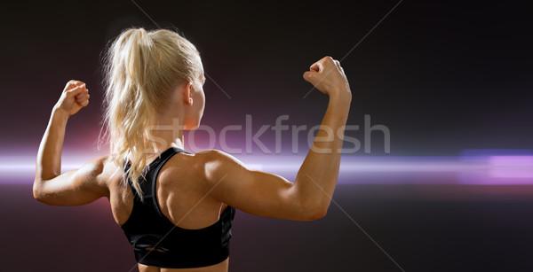スポーティー 女性 戻る 上腕二頭筋 フィットネス スポーツ ストックフォト © dolgachov