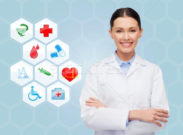 Sorridente médico médico ícones azul saúde Foto stock © dolgachov