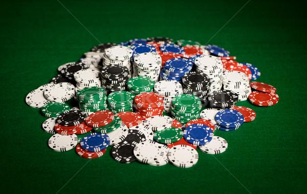 фишки казино зеленый таблице поверхность игорный Сток-фото © dolgachov