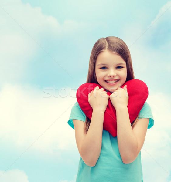улыбаясь девочку красный сердце любви счастье Сток-фото © dolgachov