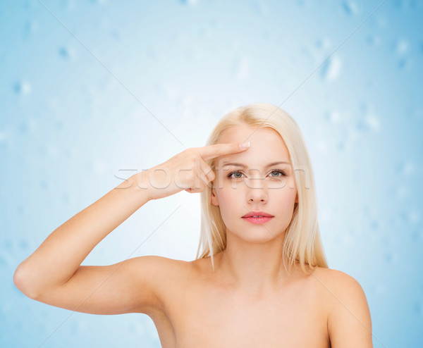 Gyönyörű nő megérint homlok egészség szépség arc Stock fotó © dolgachov