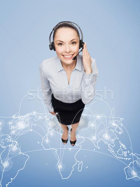 дружественный женщины телефон доверия оператор наушники бизнеса Сток-фото © dolgachov