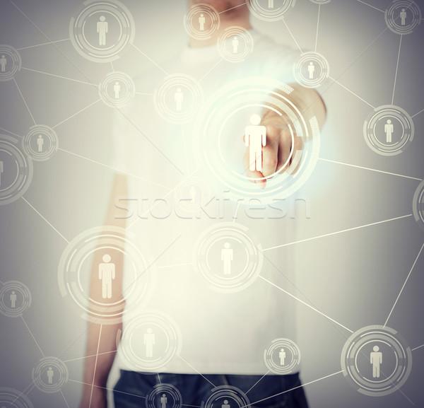 Сток-фото: бизнесмен · кнопки · контакт · бизнеса · технологий
