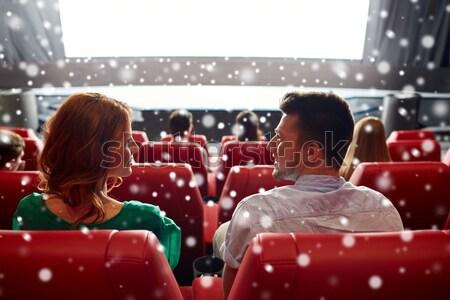 Boldog pár néz film beszél színház Stock fotó © dolgachov