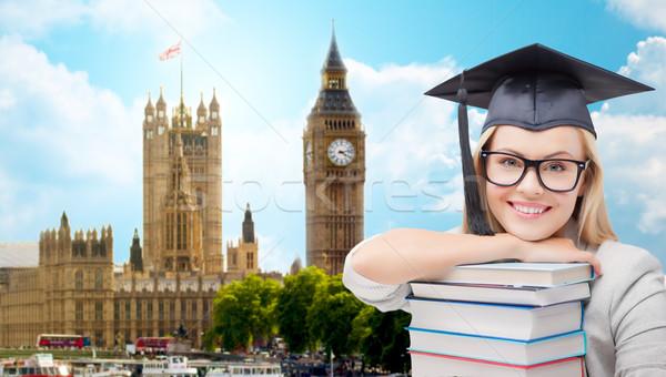 Student cap książek Londyn edukacji szkoły Zdjęcia stock © dolgachov